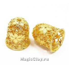 Шапочка для бусины Ажур Цветы 15х12мм, цвет золото, 1шт