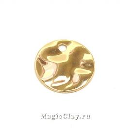 Подвеска Мятый Металл Круг 10мм, цвет золото, 1шт