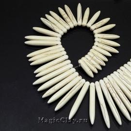 Бусины Говлит синтет. клин 20~50х5мм, цвет кость, 1нить (~45шт)