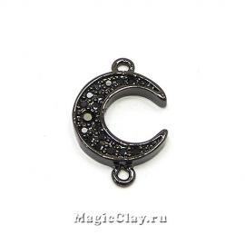 Коннектор Луна 16х11мм, цвет черная сталь, 1шт