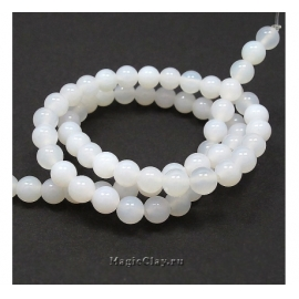 Бусины Агат белый, гладкий 6 мм, 1 нить (~64шт)