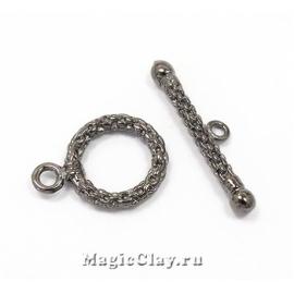 Замок Тоггл Кольцо Цепочка, цвет черная сталь, 1шт