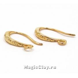 Швензы крючки Эллегия 15х9мм, Real 18K Gold, 1пара