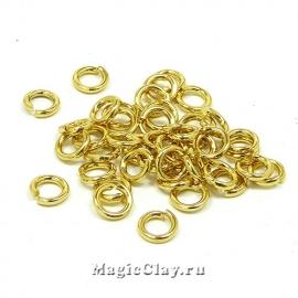 Колечки разъемные 6х1,2мм, сталь, цвет золото, 1уп(~50шт)
