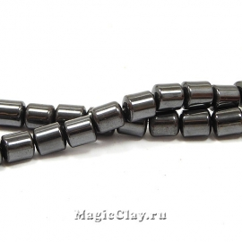 Бусины Гематит магнитный Цилиндр 6х6мм, черный, 1нить (~60шт)