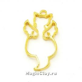 Рамка для кулона Кот Ангел 37х17мм, цвет золото, 1шт