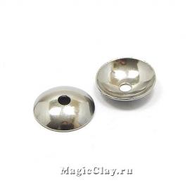 Шапочка для бусины Круглая 10x2мм, сталь, 10шт