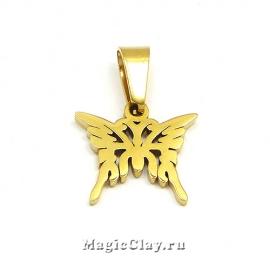 Подвеска Бабочка 15х13мм, сталь, цвет золото, 1шт