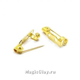 Основа для броши 16х4мм, сталь, цвет золото, 1шт