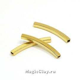 Трубочка Изогнутая 4-грани 40х4мм, сталь, золото,1шт
