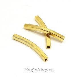 Трубочка Изогнутая 4-грани 30х3мм, сталь, золото,1шт