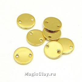 Коннектор Круг 10мм, сталь, цвет золото, 6шт