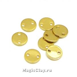 Коннектор Круг 8мм, сталь, цвет золото, 10шт