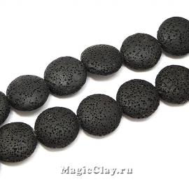Бусины Лава черный, диск 20х7мм, 1нить (~9шт)