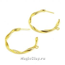Швензы гвоздики Кольцо Фэшн 34мм, Real Gold, 1пара