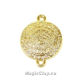 Коннектор Медальон 19х2мм, Real Gold, 1шт