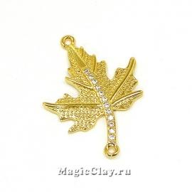Коннектор Листок 26х19мм, Real Gold, 1шт