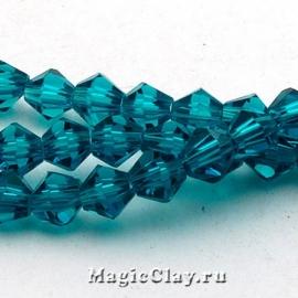Бусины биконусы Небесно-Голубой 4мм, 1нить (~120шт)