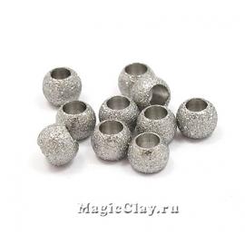 Бусина металлическая Звездная пыль 4х3мм, сталь, 10шт