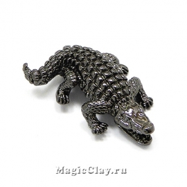 "Бусина Крокодил ""Лакост"" 24х17мм, цвет черная сталь, 1шт"
