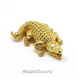 Бусина Крокодил 24х17мм, цвет золото, 1шт