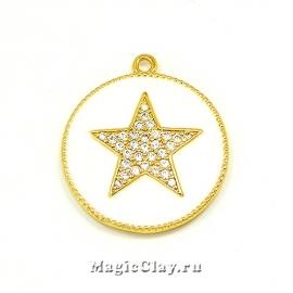 Подвеска Круг Звезда, эмаль, 24х27мм, цвет золото, 1шт