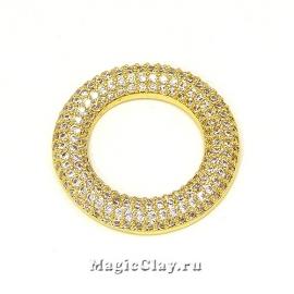 Коннектор Кольцо с фианитами 24мм, цвет золото, 1шт