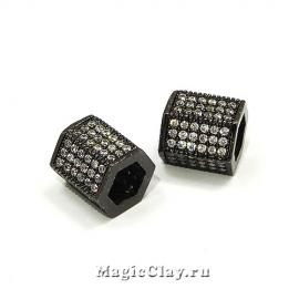 Бусина Шестигранник с фианитами  9х8мм, цвет черный, 1шт