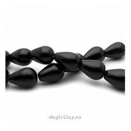 Бусины Агат черный, капля 18х13 мм, 1 шт