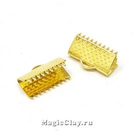 Зажимы для лент 15x6мм, сталь, цвет золото, 6шт