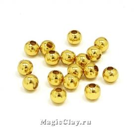 Бусина круглая 5мм, сталь, цвет золото, 5 гр (~30шт)