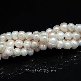 Жемчуг Натуральный, цвет Белый 6х7мм, 1 нить (~60шт)