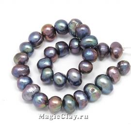 Жемчуг Натуральный, цвет Черный 5-7х6-8мм, 1 нить (~30шт)