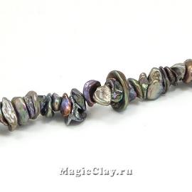 Жемчуг Натуральный Крошка, цвет Черный 5~10x4~8мм, 20шт