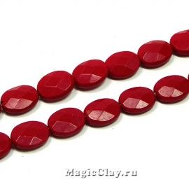 Бусины Коралл красный, овал граненый 9х8мм, 1нить (~42шт)