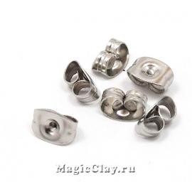 Заглушки для серег 6,5х4,5мм, сталь, 30шт