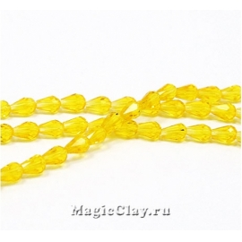 Бусины Капля Желтый Яркий 5х3мм, 1нить (~45шт)
