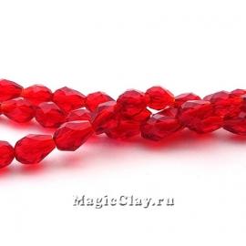 Бусины Капля Рубиновое Сияние 5х3мм, 1нить (~45шт)