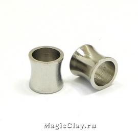 Бусина Цилиндр Вогнутый 8х8мм, сталь, 1шт
