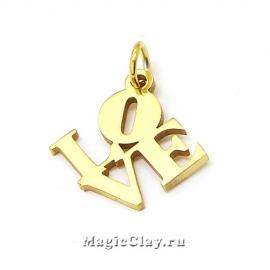 Подвеска Love надпись 16х16мм, сталь, цвет золото, 1шт
