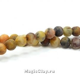 Бусины Агат кружевной, матовый 6 мм, 1 нить (~63шт)
