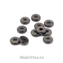Рондели Диск 6х1,2мм, Милано, цвет черная сталь, 20шт
