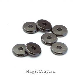 Рондели Диск 8х1,5мм, Милано, цвет черная сталь, 10шт