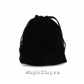 Сумочка подарочная из бархата 12х10см, цвет Черный