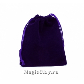 Сумочка подарочная из бархата 12х10см, цвет Синий