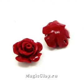 Бусины Коралл синтет. Роза 10х7мм, цвет красный, 10шт