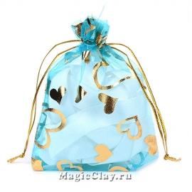 Сумочка подарочная из органзы 10х12см, цвет Бирюзовый