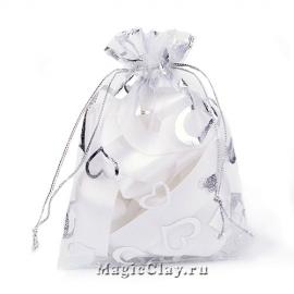 Сумочка подарочная из органзы 10х12см, цвет Белый