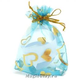 Сумочка подарочная из органзы 7х9см, цвет Бирюзовый