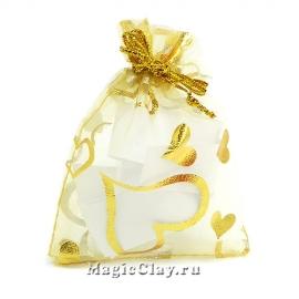 Сумочка подарочная из органзы 7х9см, цвет Золотой
